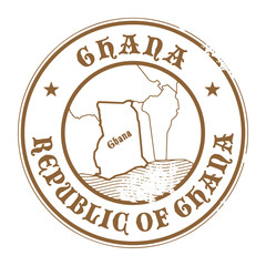 Grunge rubber stamp with the name and map of Ghana