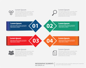 Info-graphic Elements with ribbon and square design