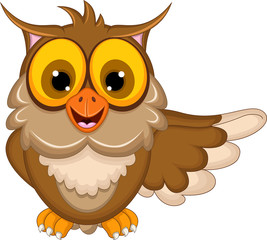 funny owl cartoon waving