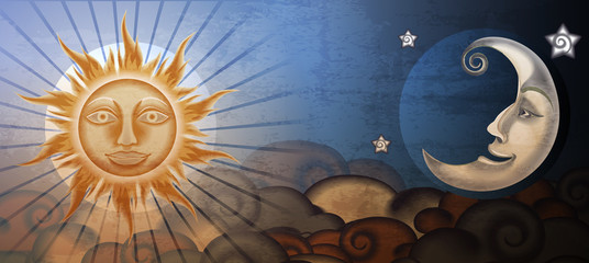 Grunge sun and moon in front of clouds. Fresco imitation.