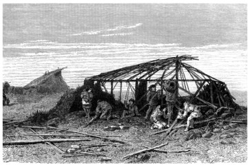Building a Hut - Traditional North Siberian People