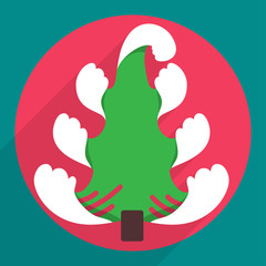 Flat christmas tree icon for web and mobile applications