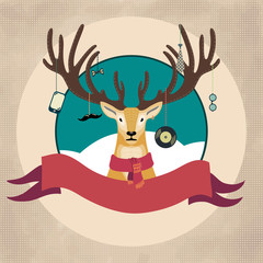 Hand Drawn Vector Illustration of Deer Hipster in scarf, Merry