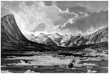 Sailing Ship in dangerous Polar Landscape - 19th Century