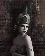 Retro woman with fantasy hat on abstract background.