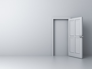 Empty white wall with blocked door no way out concept