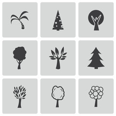 Vector black trees icons set