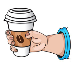 hand with coffee. cartoon Style