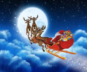 Santa Claus on reindeer flying through the sky
