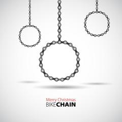 Merry Christmas theme with bike chain - vector card