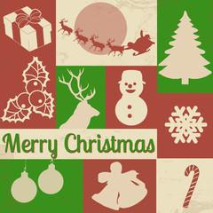 Christmas symbols on retro poster
