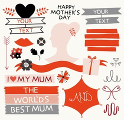 Valentines day, mother's day icon, lettering set