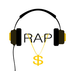 headphone with rap music and gold chain