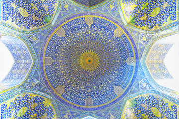 The interior view of the Imam Mosque in Isfahan, Iran