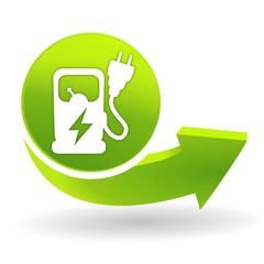 station de recharge électrique sur symbole vert