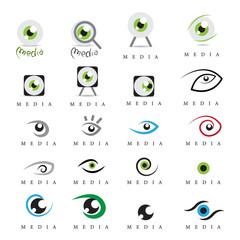 Eye - Media Icons Set - Isolated On White Background