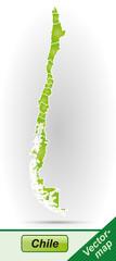 Grenzkarte von Chile mit Grenzen in Grün