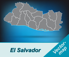 El-Salvador mit Grenzen in leuchtend grau
