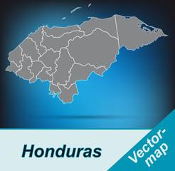 Honduras mit Grenzen in leuchtend grau