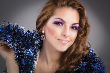 beautiful brunette model portrait, purple make-up