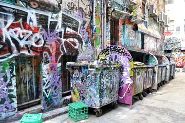 graffiti art on the wall and bin