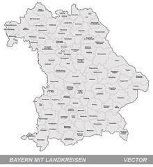 Inselkarte von Bayern mit Grenzen in Grau