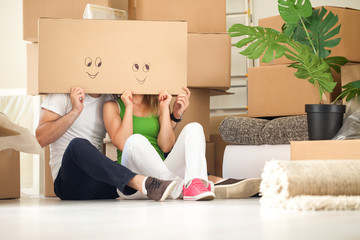 Wall Mural - Funny moving house