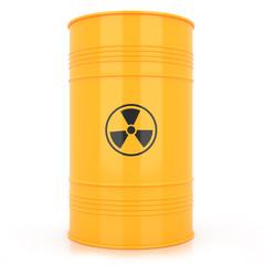 Yellow barrel with radioactive waste