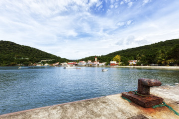 Village and harbor of Deshaies, Guadeloupe