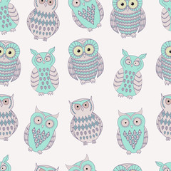 Vector colorful seamless pattern with cute different owls