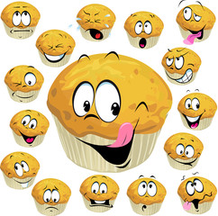 muffin cartoon with many expression isolated on white