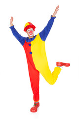 Clown Jumping In Joy