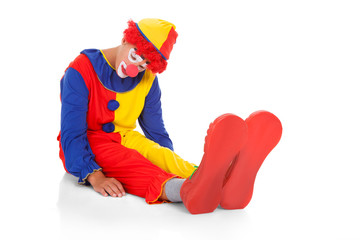 Exhausted Clown Lying On Front