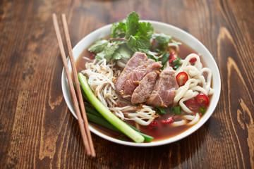 bowl of vietnamese pho in natural light
