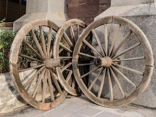 Old wooden cartwheel