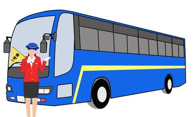 大型バスとガイド