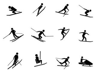 ski icons set