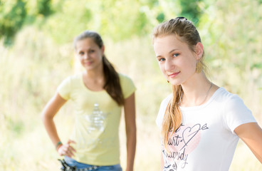 Two teen girls in nature