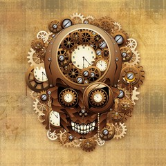 Wall Mural - Steampunk Skull Vintage Style-Teschio Meccanismo Orologio