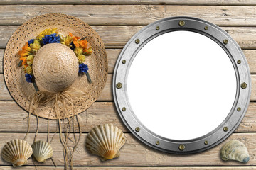 Metal Porthole on Wooden Boardwalk with Sand