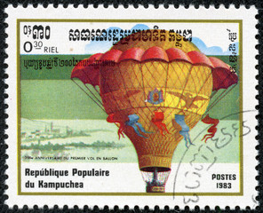 stamp featuring the Montgolfier hot air balloon