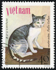 stamp printed in Vietnam shows house cat Meo muap dom