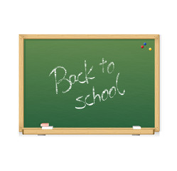 Vector green chalkboard Back to school