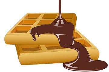 Waffle with a chocolate