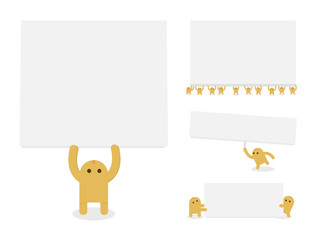 Little Yellow hold blank paper, banner for use presentations