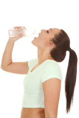 woman fitness outfit drink water close