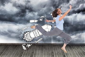 Composite image of happy classy businesswoman jumping while hold