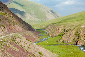 Fototapete - Valley of East Karakol river, Tien Shan mountains