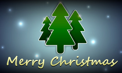 Christmas background with the image of three Christmas trees