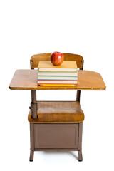 Vintage school desk and apple